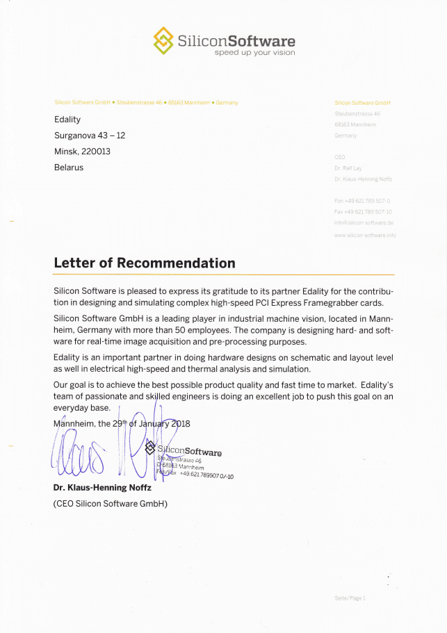 Reference letter for Edality from Silicon Software GmbH